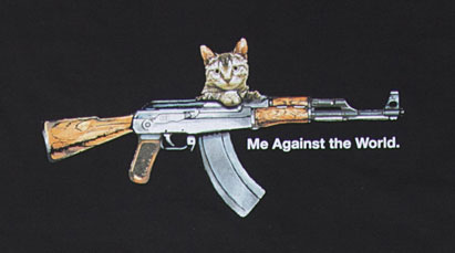 cat machine gun t-shirt