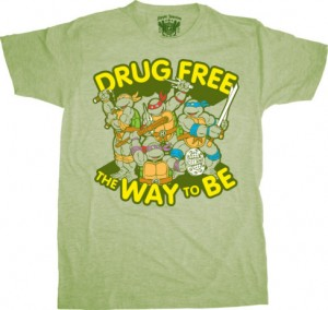 teenage mutant ninja turtles drug free is the way to be t-shirt