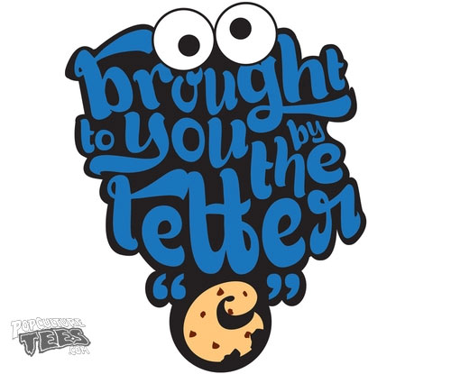 cookie monster letter c t-shirt