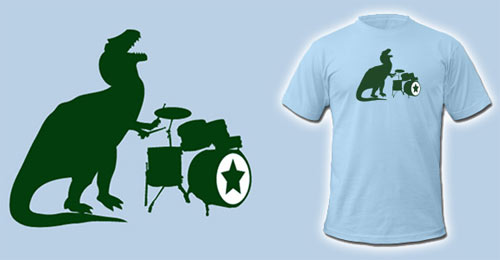 t-rex playing drums