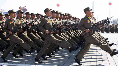 communist soldiers marching