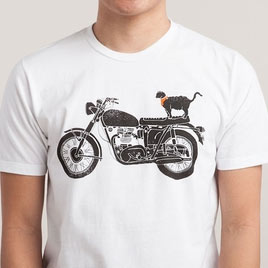 cat on motorcycle t-shirt