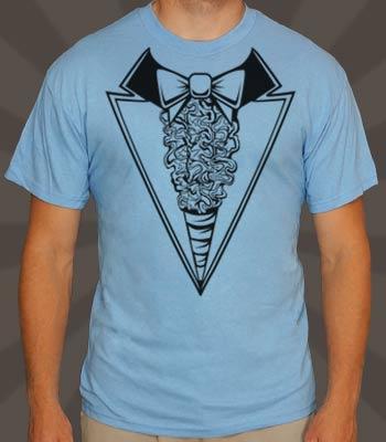 1980s tuxedo t-shirt blue