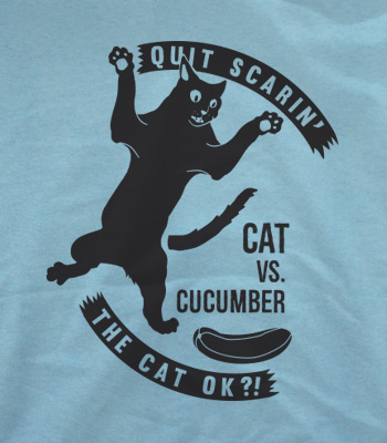 cats vs cucumber shirt blue
